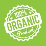 Organisk vit för rubber stämpel för produkt på en grön bakgrund Royaltyfri Bild