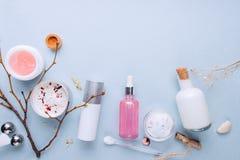 Organiska bio skönhetsmedel med växt- ingredienser Naturlig extrakt av rosen, oljor, serum Kopieringsutrymme, lekmanna- som lägen royaltyfri foto