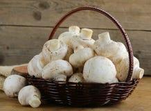 Organiska champinjoner (champignons) i en korg Royaltyfri Foto