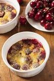 Organiska Cherry Cobbler Cake Royaltyfria Bilder