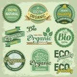 Organiska etiketter stock illustrationer