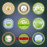 Organiska etiketter, emblem och klistermärkear Arkivfoton