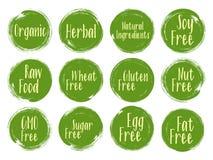Organiska etiketter för vektor, naturliga ingrediensemblem royaltyfri illustrationer