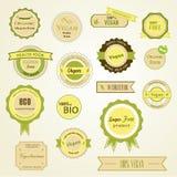 Organiska etiketter, logoer och klistermärkear Royaltyfria Bilder
