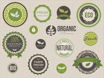 Organiska etiketter och beståndsdelar Arkivbilder