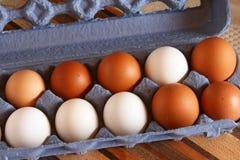 Organiska fega ägg i låda Royaltyfri Foto