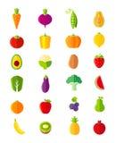 Organiska frukter och grönsaker sänker stilsymbolsuppsättningen Royaltyfri Fotografi