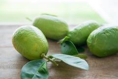 Organiska gröna citroner på wood bakgrund Arkivfoton