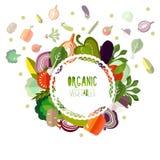 Organiska grönsaker för etikett på en vit bakgrund Royaltyfri Bild