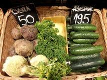 Organiska grönsaker på marknaden Arkivfoto