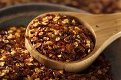 Organiska kryddiga flingor för röd peppar royaltyfria foton
