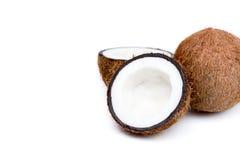 Organiska mogna kokosnötter, helt och halverat royaltyfri foto
