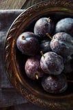 Organiska mogna purpurfärgade Prune Plums Fotografering för Bildbyråer