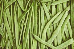 Organiska naturliga ofullbordade grönsaker med handikapp i en vide- korg på marknaden Naturliga ekologiska haricot vert, skidfruk Royaltyfri Bild