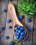 Organiska nya blåbär med pepparmint på en träbakgrund Royaltyfri Fotografi