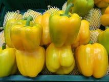 Organiska peppar på marknaden Royaltyfria Bilder