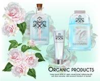 Organiska produkter på rosa färgrosbakgrund Arkivfoto