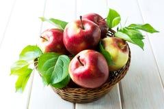 Organiska röda äpplen med gröna sidor Fotografering för Bildbyråer