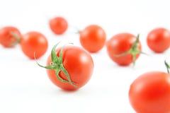 Organiska röda tomater på vit Arkivbilder