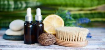 Organiska skönhetsmedel, naturliga fruktoljor Begreppsbrunnsort, hudomsorg, e Arkivfoton