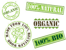 organiska stämplar för ekologi Royaltyfria Foton