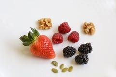 Organiska sunda mat, frukt, frö och muttrar Royaltyfri Foto