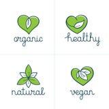 Organiska, sunda och strikt vegetarianemblem - emblem för vegetarisk mat royaltyfri illustrationer
