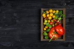 Organiska tomater av olika variationer och färger i en träask och en svart texturbakgrund Arkivbilder
