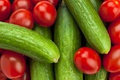 organiska tomater för gurkor Royaltyfri Bild