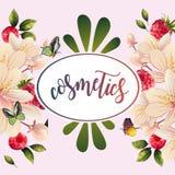 Organiskt baner med blommor och hallon Fotografering för Bildbyråer