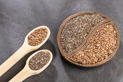 Organiskt chia- och linfr?fr? - textutrymme royaltyfri foto