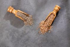 Organiskt chia- och linfr?fr? - textutrymme royaltyfri fotografi