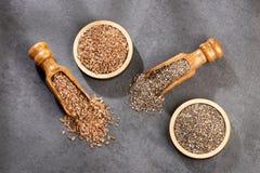 Organiskt chia- och linfr?fr? - textutrymme arkivfoto