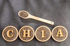 Organiskt chiafr? - Salvia hispanica Utrymme f?r text royaltyfria bilder