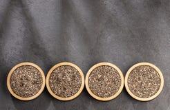 Organiskt chiafr? - Salvia hispanica Utrymme f?r text fotografering för bildbyråer