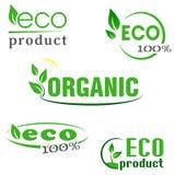 Organiskt ecoen, naturprodukter göra grön symbolsuppsättningen Arkivfoton