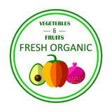 Organiskt lantgårdbegrepp med frukter, grönsaker och beställnings- typografi Royaltyfri Illustrationer