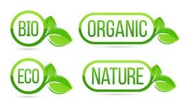 Organiskt naturligt, bio, ecovektoretiketter Eco Bio som är organisk, gröna nya sidabeståndsdelar för natur stock illustrationer