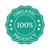 Organiskt produktlägenhetemblem på vit bakgrund vektor illustrationer