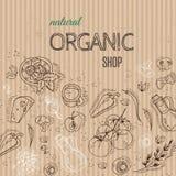 Organiskt shoppa begreppet med grönsaker på papp Royaltyfria Foton