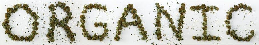 Organiskt som stavas med marijuana Arkivfoto