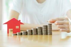 Organismos de investimento imobiliário Casa e moedas Fotografia de Stock Royalty Free