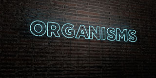 ORGANISMS -Realistic Neon Sign on Brick Wall background - 3D rendered royalty free stock image. Can be used for online banner ads and direct mailers stock illustration