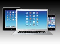 Organização de dados do computador do iCloud de Apple Mac Fotos de Stock