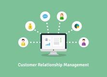 Organização dos dados no trabalho com clientes, conceito de CRM Ilustração do gerenciamento de relacionamento com o cliente Imagem de Stock Royalty Free