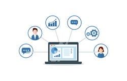 Organização dos dados no trabalho com clientes, conceito de CRM Ilustração do gerenciamento de relacionamento com o cliente Fotos de Stock
