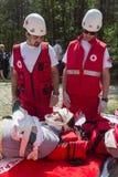 Organización del voluntery de la Cruz Roja de los voluntarios Fotos de archivo