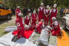 Organización del voluntery de la Cruz Roja de los voluntarios Fotografía de archivo libre de regalías