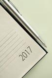 Organizador 2017 de la oficina del Año Nuevo Fotografía de archivo libre de regalías