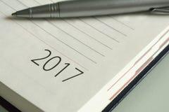 Organizador 2017 de la oficina del Año Nuevo Imágenes de archivo libres de regalías